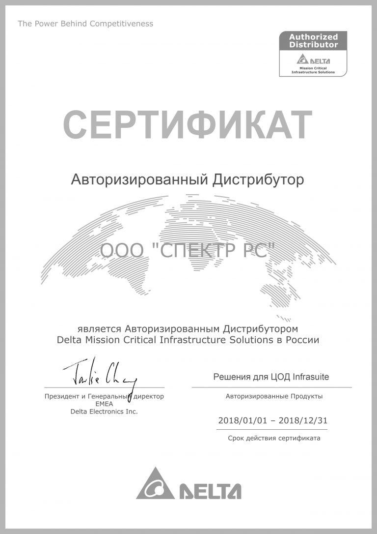 СПЕКТР РС Cертификат партнера